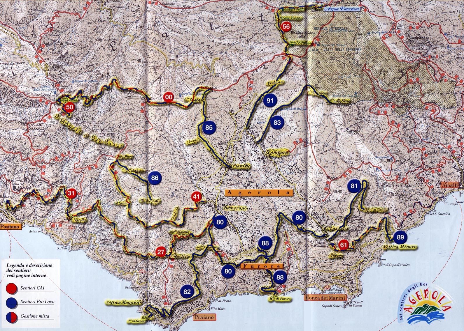 Amalfi Coast Online Travel Guide Amalfi Coast Hiking Maps
